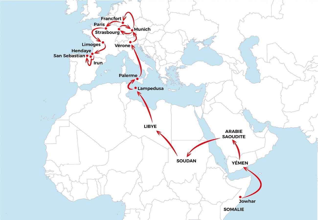 Le voyage d'Asad depuis la Somalie jusqu'en Espagne.  © MSF - Janvier 2019