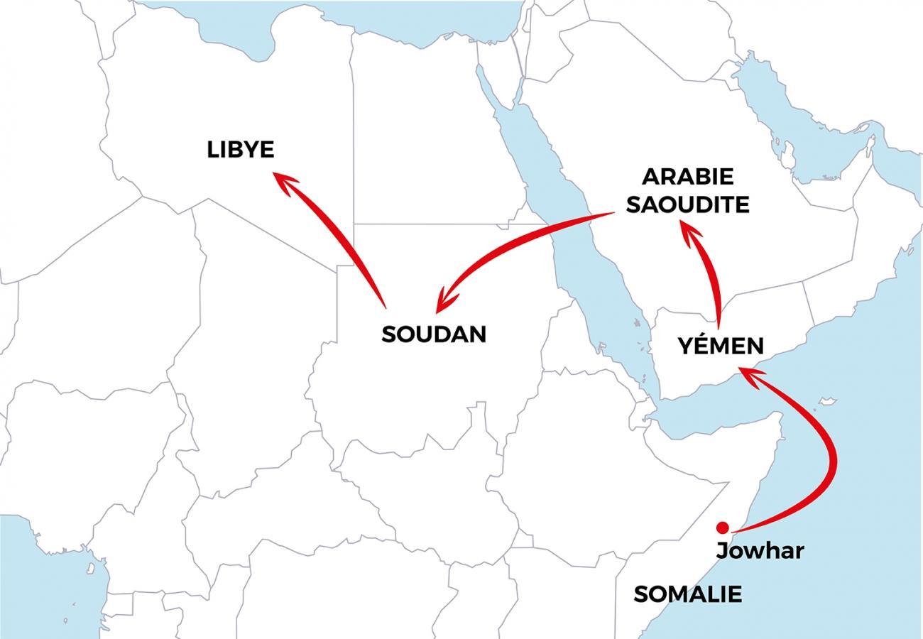 Première partie du voyage d'Asad de la Somalie à la Libye. 2019.  © MSF - Janvier 2019