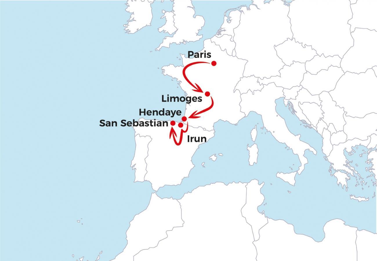Troisième partie du voyage d'Asad depuis Paris jusqu'à San Sebastian.  © MSF - Janvier 2019