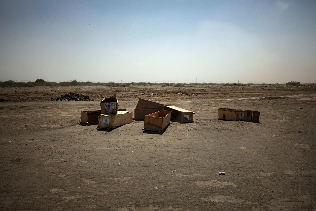 Yémen, novembre 2018. Cercueils pour les combattants décédés sur le front.  © Guillaume Binet / MYOP