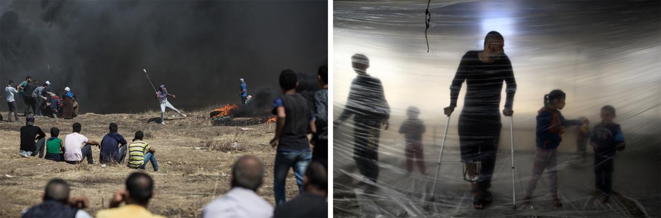 """Gauche : Le 14 mai 2018, à l'occasion de l'inauguration de l'ambassade des Etats-Unis à Jérusalem, la """"Marche du retour"""" a connu sa manifestation la plus violente et la plus meurtrière. Ce jour-là, près de 60 morts et plus de 2 400 blessés sont à déplorer, selon le ministère de la Santé. Malaka. © Laurence Geai. Droite : Ahmed Abd al-Al, 38 ans, a été blessé sur une manifestation de la """"Marche du retour"""". © Mohammed Abed / AFP"""
