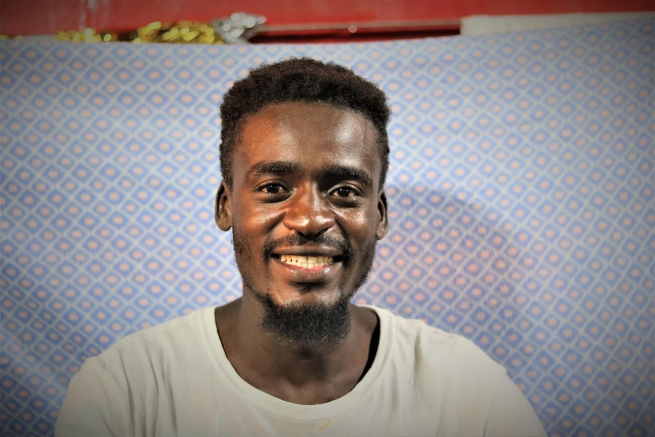 Abdoul, à bord de l'Ocean Viking. 2019.  © Hannah Wallace Bowman / MSF