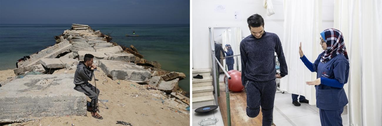 (gauche)Eyad, un musicien palestinien de 23 ans,a été blessé par balle par l'armée israélienne le 14 mai 2018.© Mohammed Abed(droite)Sabrine Wadi estphysiothérapeuteà l'hôpital Al Awda dans le nord de Gaza. Elleaide un patient dans ses exercices de physiothérapie.© Virginie Nguyen Hoang