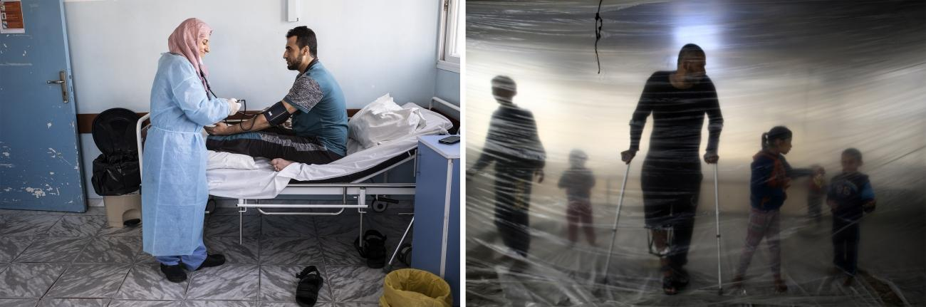 (gauche) L'infirmière Ola Hassuna assiste un patient dans une chambre d'isolement de l'hôpital Al-Awda.© Virginie Nguyen Hoang (droite) Ahmed, 38 ans, a été blessé par balle par l'armée israélienne lors de la grande marche du retour© Mohammed Abed