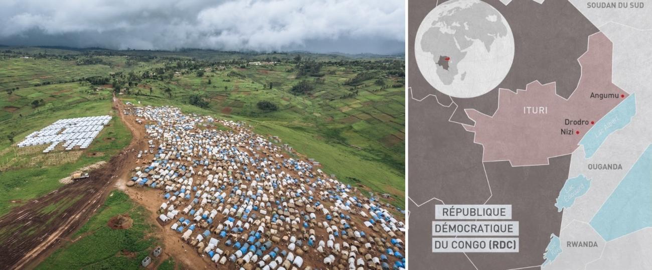 Une vue aérienne du camp de déplacés de Rho, dans la zone de santé de Drodro. Malgré la présence des Casques bleus de l'ONU, le site des déplacés internes a été attaqué à deux reprises à la fin du mois de septembre 2019 par des hommes armés.  © Alexis Huguet