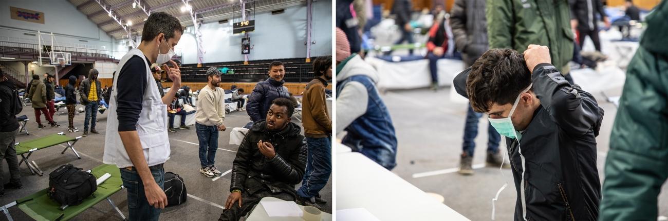 Des équipes MSF sont déployées dans certains des lieux réquisitionnés d'hébergement d'urgence pour évaluer la santé de cette population à risque et identifier les cas potentiels de coronavirus. Paris, 24 mars 2020.  © Agnes Varraine-Leca/MSF