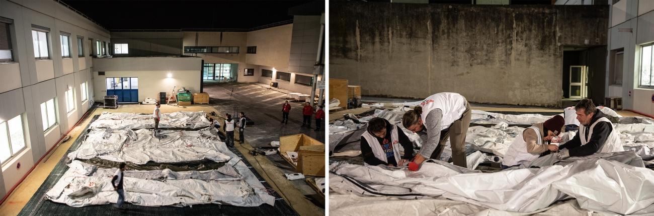 Samedi 4 avril, une équipe MSF de 6 logisticiens et une experte en eau, hygiène et assainissement a monté une structure mobile sous tente afin d'augmenter la capacité du service réanimation du CHU de Reims.  © Agnes Varraine-Leca/MSF