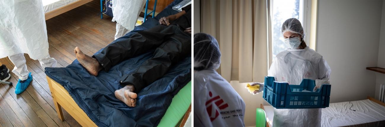 Le personnel médical effectue un prélèvement nasopharyngé au centre Covid+ de Châtenay-Malabry.  © Agnes Varraine-Leca/MSF
