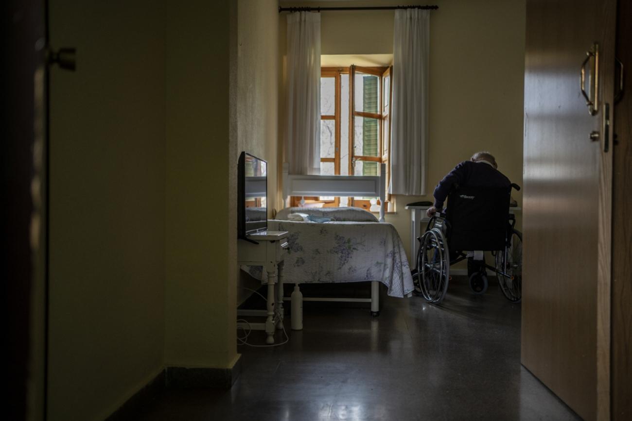 Maison de retraite «Nuestra Señora de las Mercedes», située à El Royo, province de Soria, Castille-et-Léon, Espagne, Avril 2020.  © Olmo Calvo/MSF