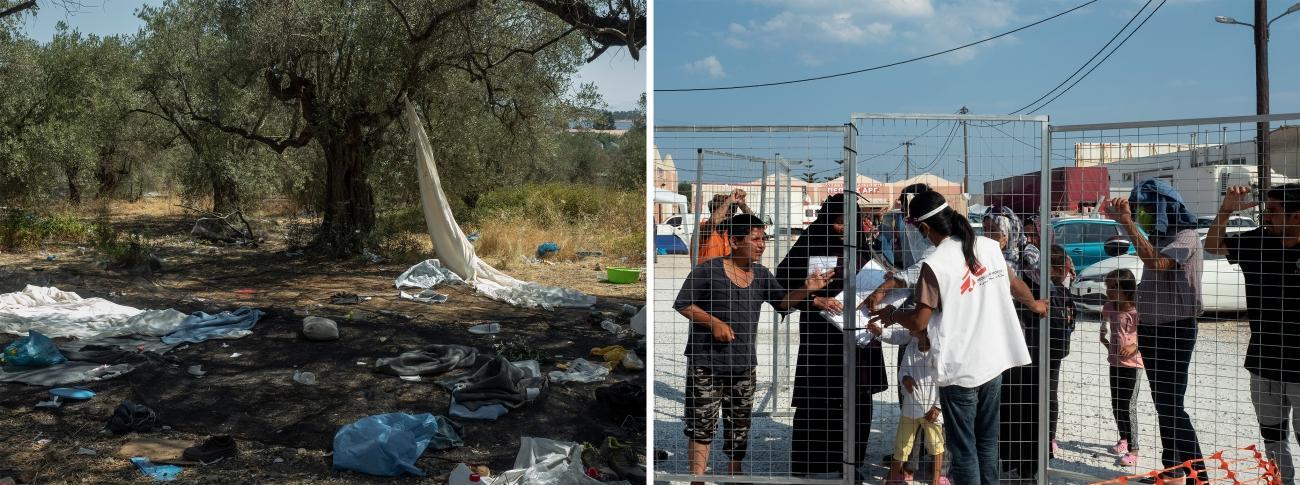 gauche : Lesbos, le 11 septembre 2020. droite : Lesbos, le 15 septembre 2020.  © Enri Canaj / Magnum Photos