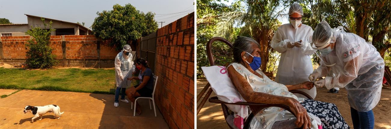 Gauche : Dans la ville d'Aquidauana, MSF soutient l'équipe de santé de la municipalité qui visite les patients atteints par la Covid-19. Droite : Mayra Leandro, infirmière MSF, travaille avec un agent de santé local qui s'occupe des patients du village de Lagoinha. La prise de sang va permettre de connaître le taux de sucre dans le sang de la patiente, car de nombreux autochtones souffrent de diabète.  © Diego Baravelli/MSF