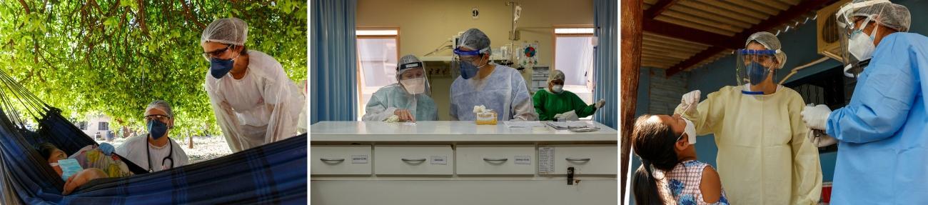 Gauche : La Dr. Luiza Cegalla et Erica Cravo, infirmière MSF, assurent le suivi médical d'une patiente testée positive au coronavirus à son domicile, dans le village de Limão Verde, dans l'État du Mato Grosso do Sul. Centre : La Dr. Jenny Martino et le Dr. Michael Jaung discutent d'un patient pris en charge à l'hôpital régional d'Aquidauana, soutenu par MSF. Droite : Erica Cravo, infirmière MSF, prélève un échantillon sur un patient du village de Limão Verde, pour un test Covid-19.  © Diego Baravelli/MSF