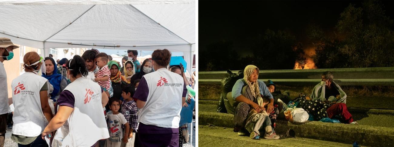 gauche : Lesbos, le 15 septembre 2020. droite : Lesbos, le 9 septembre 2020.  © Enri Canaj / Magnum Photos