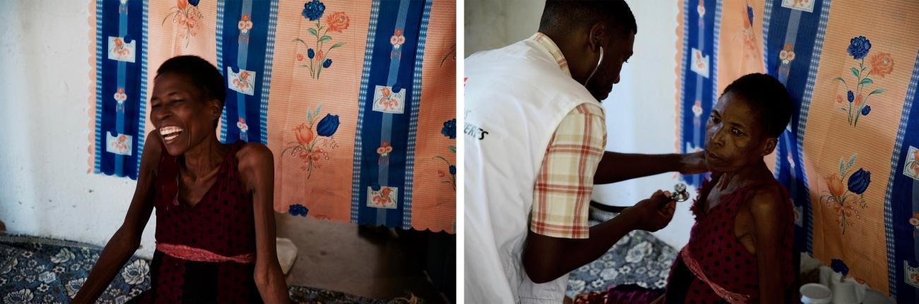 Depuis qu'elle est suivie par l'équipe MSF de soins palliatifs pour soigner son cancer du col de l'utérus, Margaret Mafupa ressent moins de douleurs. Cependant, n'arrivantpas à se déplacer correctement, ellea besoin d'une aide constante. District de Blantyre, Malawi, le 10 mars 2020.  © Francesco Segoni/MSF