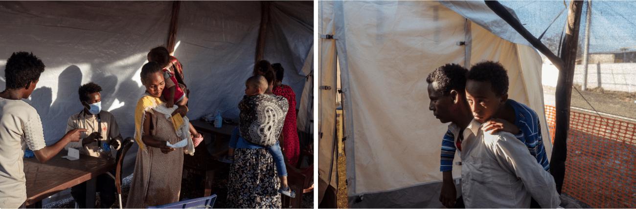 Des réfugiés attendent pour une consultation dans la clinique de MSF, située dans le camp de transit d'Al Hashaba. C'est la seule structure de soins dans le camp. Soudan, région de Gedaref, frontière avec l'Ethiopie, décembre 2020.  © Thomas Dworzak/Magnum Photos
