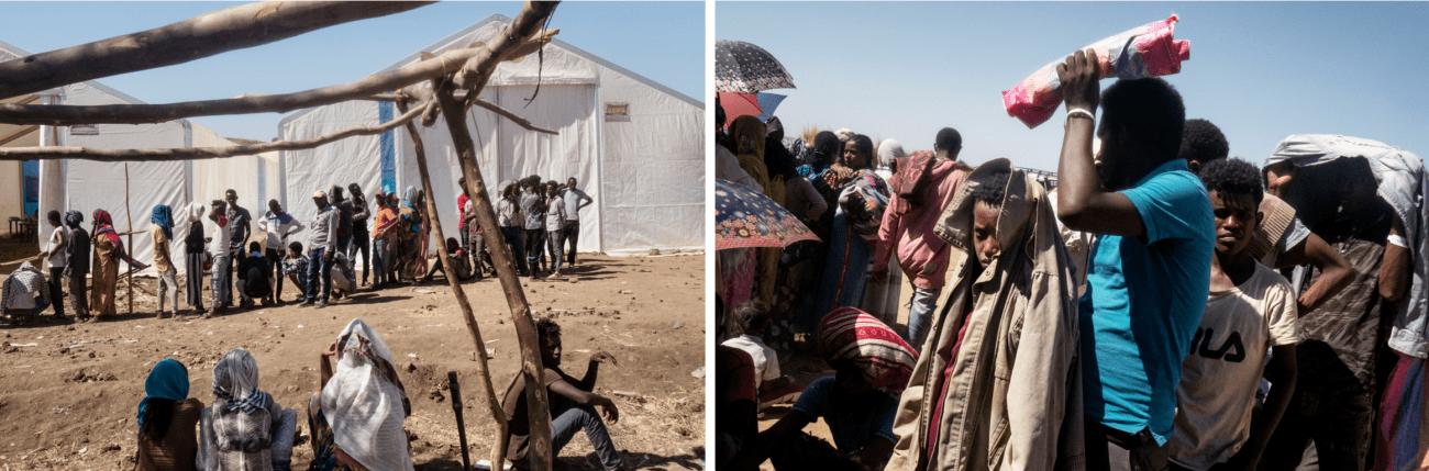 Un groupe de réfugiés fait la queue pour une distribution de nourriture organisée par le PAM dans le camp d'Um Rakuba. Soudan, région de Gedaref, frontière avec l'Ethiopie, décembre 2020.  © Thomas Dworzak/Magnum Photos