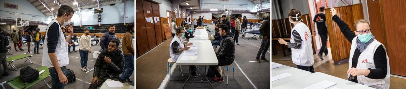 Les équipes MSF lors d'une intervention dans le gymnase Jean-Jaurès à Paris, le 24 mars 2020.  © Agnes Varraine-Leca/MSF