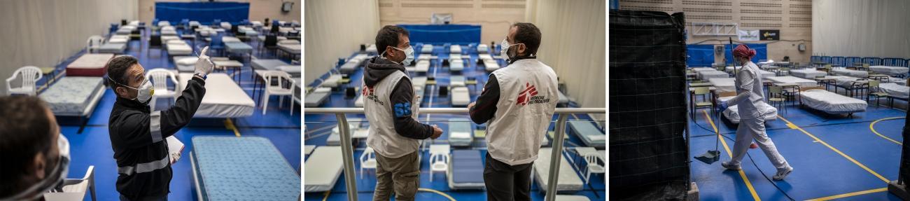 Hôpital temporaire pour les personnes atteintes de laCovid-19, installé par MSF à Leganes en Espagne, afin de désengorger les hôpitaux de la région, en mars 2020.  © Olmo Calvo