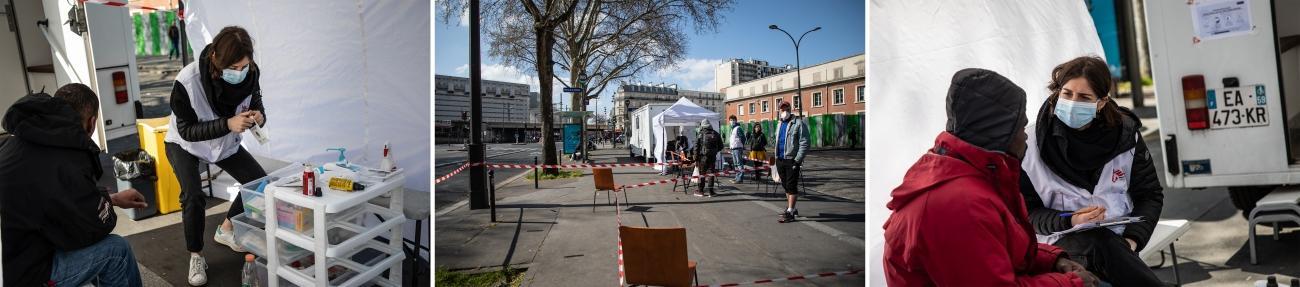 Une clinique mobile MSF déployée à Porte de la Villette à Paris en mars 2021.  © Agnes Varraine-Leca/MSF