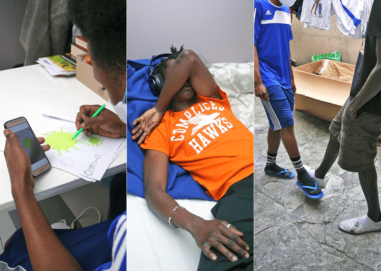 «Maintenant nous croisons les pieds au lieu de nous serrer la main. C'est la nouvelle façon de se saluer. »,Imany (photo de droite), un jeune suivi par MSF.  © Julien Bonnin