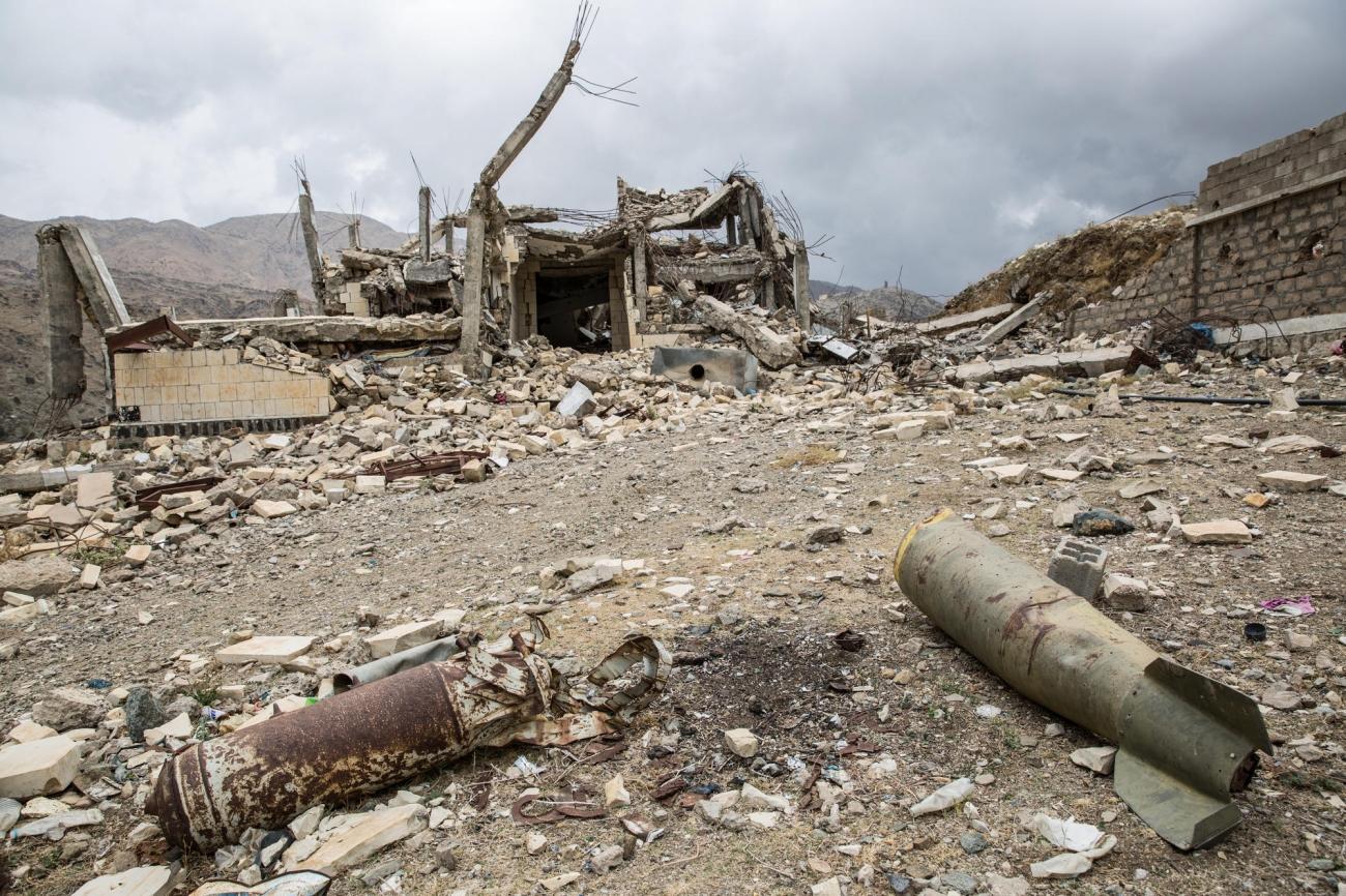 Les ruines de l'école de Haydan. Yémen. Mars 2018.  © Agnes Varraine-Leca/MSF