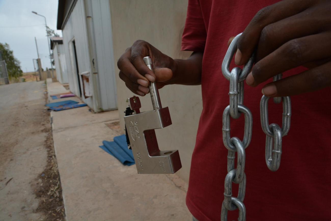 Centre de détention de Gharyan, Libye, juin 2019.  © Jérôme Tubiana/MSF