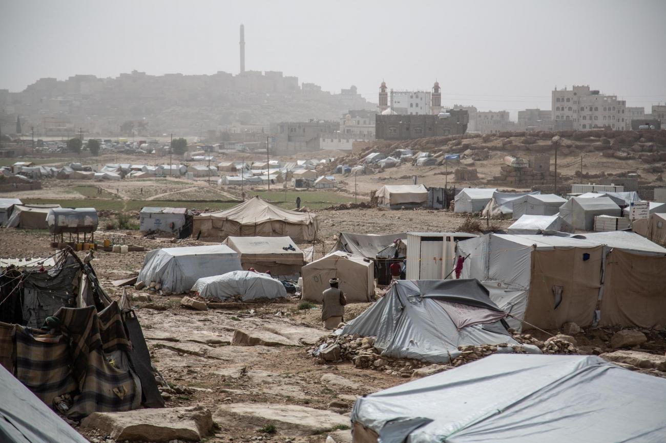 Vue générale du camp de Dahadh, non loin du centre ville de Khamer, dans le gouvenorat d'Amran, avril 2019.  © Agnes Varraine-Leca/MSF