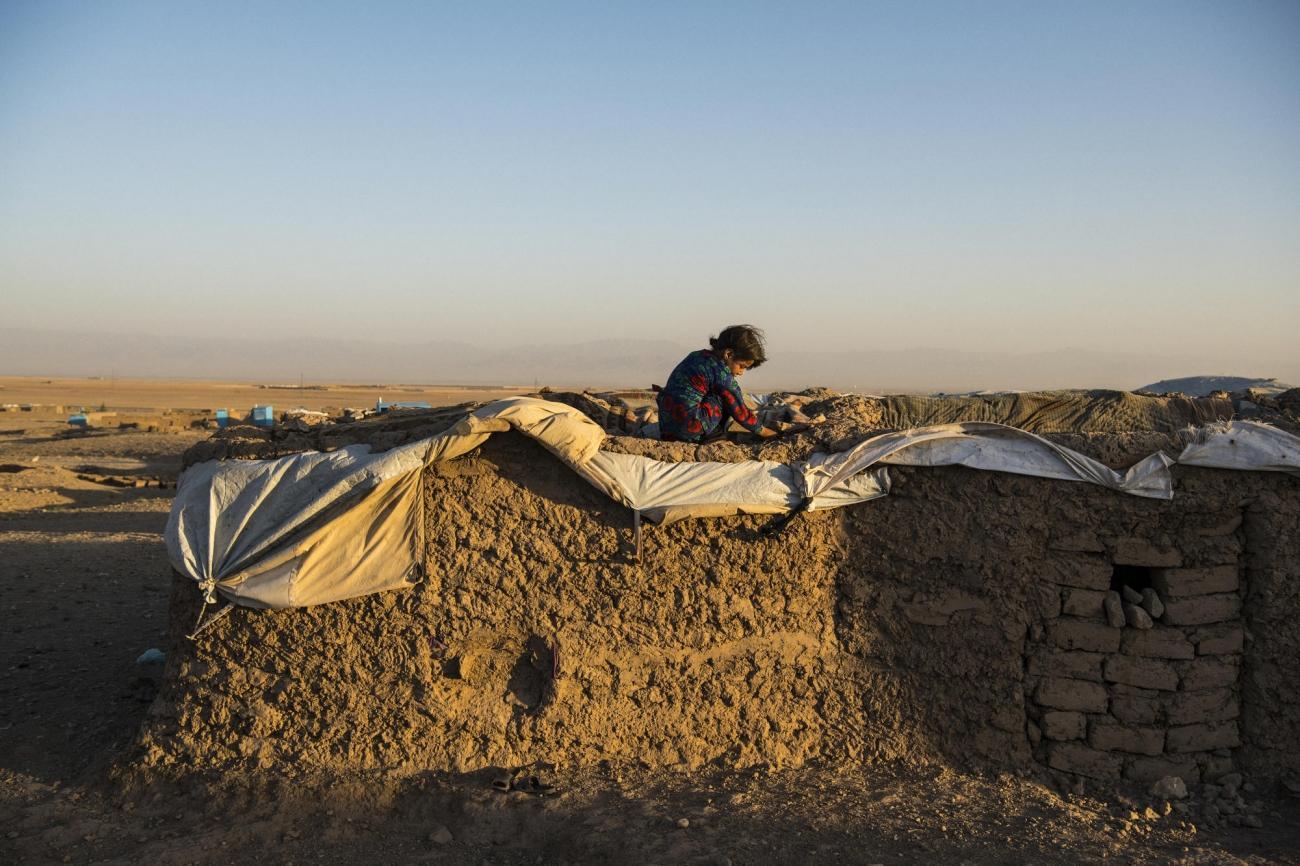 Camp de déplacés de Shahrak-é-Sabz, en périphérie de la ville d'Hérat, Afghanistan, août 2019. Une jeune fille s'isole sur le «toit» d'une maison.  © Andrew Quilty