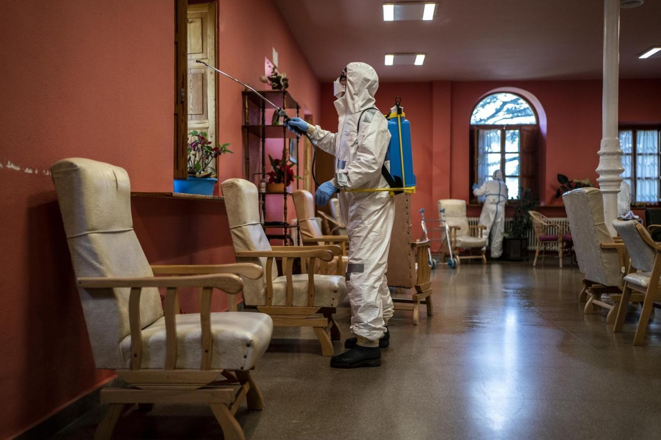Maison de retraite «Nuestra Señora de las Mercedes», située à El Royo, province de Soria, Castille-et-Léon, Espagne, le 14 avril 2020.  © Olmo Calvo/MSF