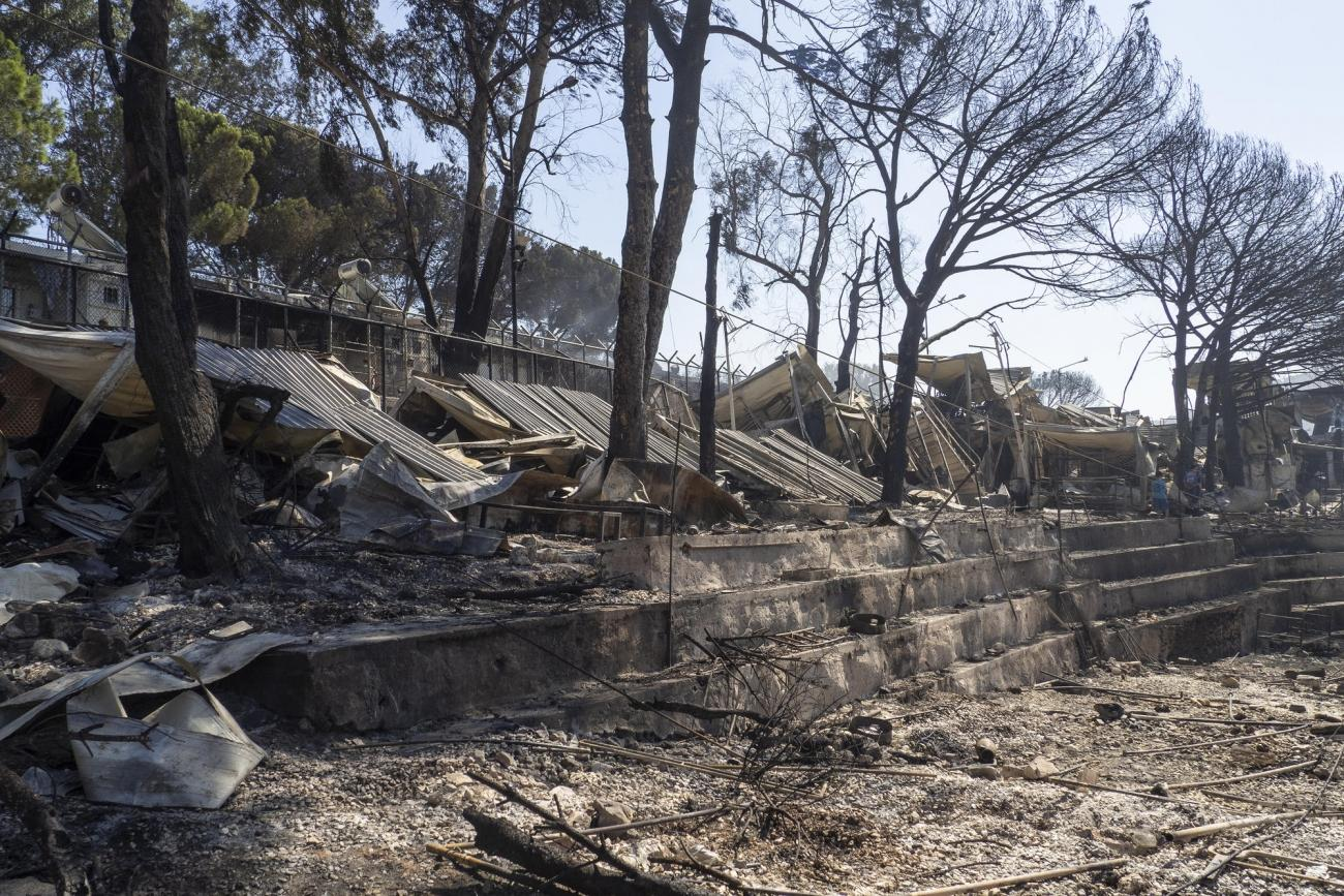 La camp de Moria après l'incendie du 8 septembre.  © /MSF