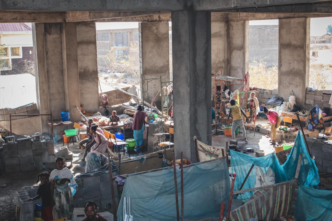 Vue générale du site pour personnes déplacées de l'université de Shire, dans la région du Tigré, février 2021.  © Claudia  Blume/MSF