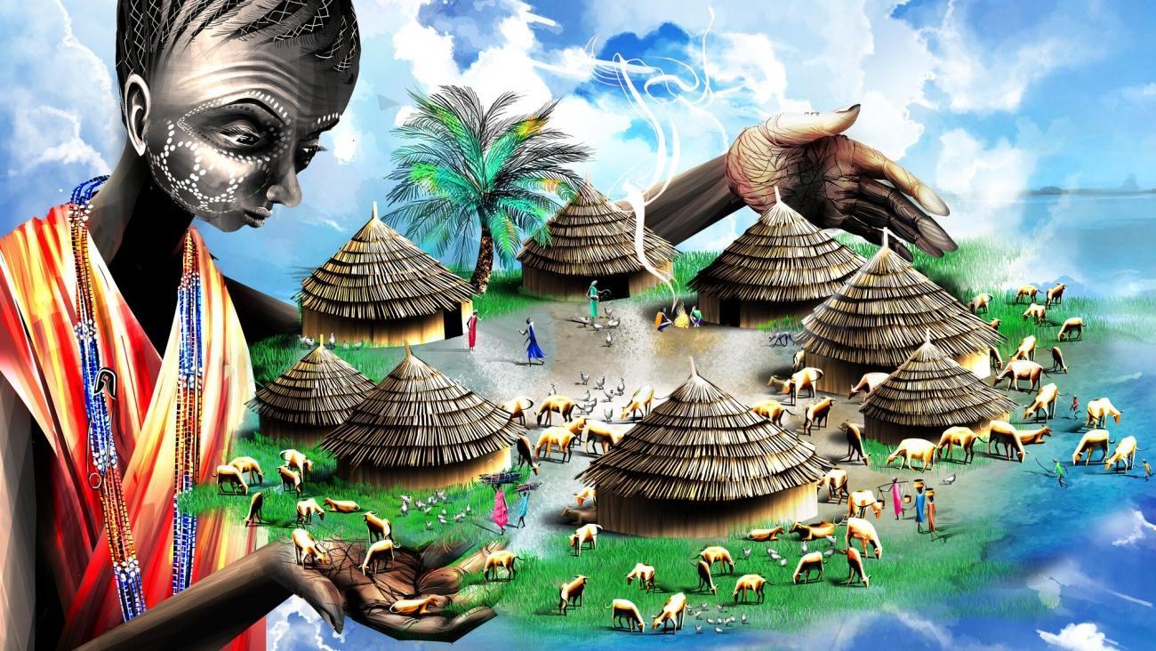 La description du village de Mallodin, faite par Chacha, la mère de Laito. Soudan du Sud.  © Ella Baron