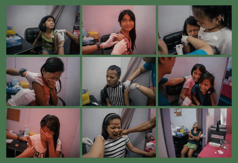Des jeunes filles de Tondo, à Manille, dans la clinique de Likhaan pour une vaccination gratuite contre le PVH.  © Hannah Reyes Morales