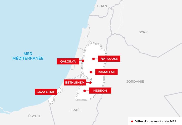 Principales interventions de Médecins Sans Frontières en Palestine. Source :rapport internationalde MSF 2016.  © MSF