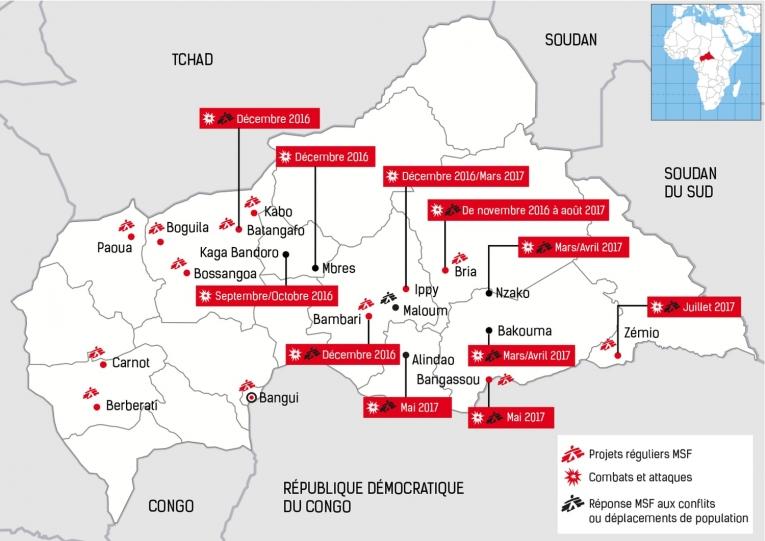 Réponses de MSF aux conséquences des attaques sur la population en 2016/2017.  © MSF