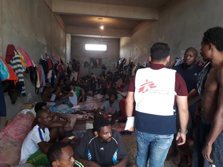 Centres de détention de la région de Khoms et Misrata en juillet 2018.  © MSF
