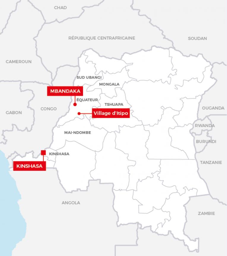 Carte de la République démocratique du Congo.  © MSF - 2018