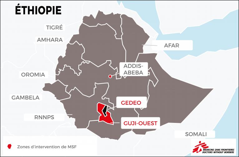 Intervention de Médecins Sans Frontières auprès des personnes déplacées dans les zones deGedeo et de Guji-Ouest.Éthiopie.  © MSF - Septembre 2018