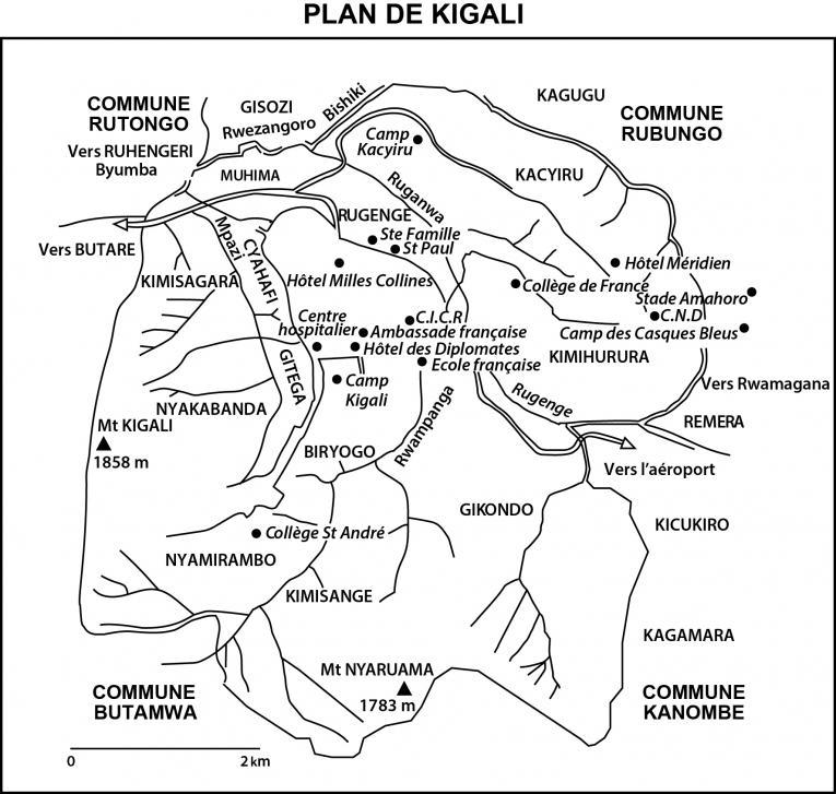Carte de Kigali éditéepar Jean-Hervé Bradol et Marc Le Pape à partir de la carte de l'ouvrage d'André Guichaoua (dir.)Les crises politiques au Burundi et au Rwanda (1993 - 1994), Paris, Karthala, 1995 p. 524.