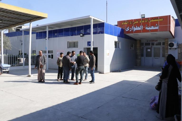 Entrée des urgences de l'hôpital Imam Ali à Sadr City de Bagdad. 2019. Irak.  © Elisa Fourt/MSF