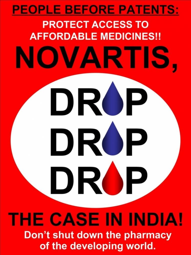 « Abandonnez l'affaire ! » Campagne de la CAME contre les contestations de Novartis sur la législation indienne.  © CAME