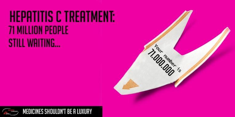 Campagne de la CAME pour le traitement contre l'Hépatite C. Traitement de l'hépatite C: 71 000 000 personnes attendent leur tour.  © CAME