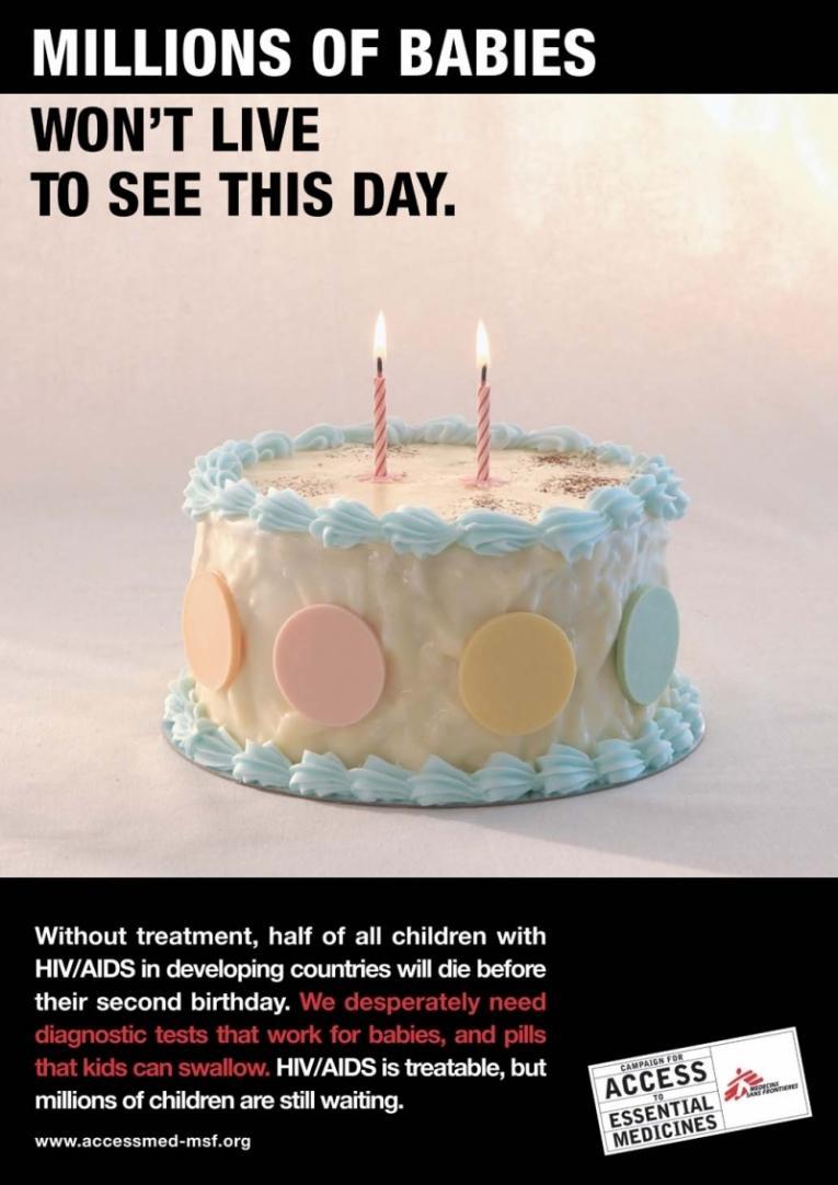 """""""Des millions d'enfants ne vivront jamais ce jour"""" - Le poster de la CAME pour l'accès des enfants aux soins antrirétroviraux.  © CAME"""