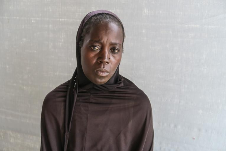 Yassoua Abba, déplacée à Kourgui depuis 3 ans : « Le jour où on a fui je n'ai pas eu de nouvelles de mon mari. Je ne sais pas s'il est vivant ou s'il est mort».  © Vanessa Fodjo / MSF