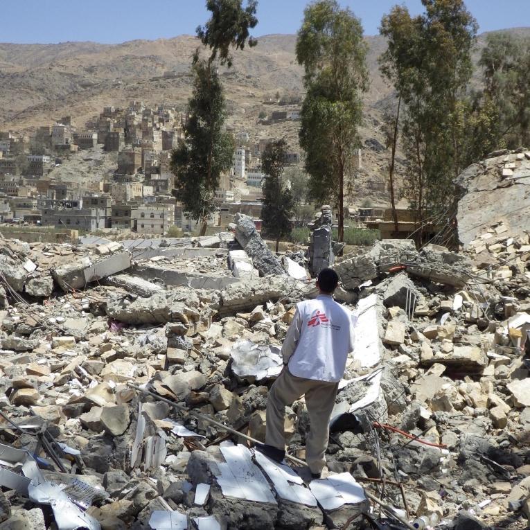 L'hôpital d'Haydan, dans le nord du pays, détruit dans un bombardement en mars 2016.  © Atsuhiko Ochiai