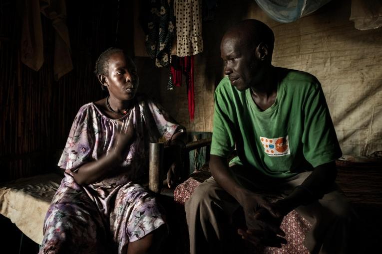 Kuany et sa famille étaient parmi la première vague de civils à venir trouver refuge dans le camp de protection des civils de Bentiu en 2013.  © Peter Bauza
