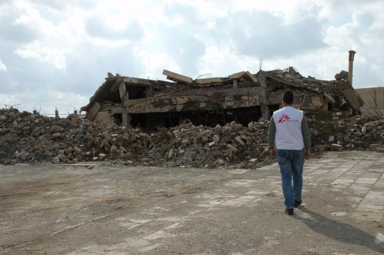 Un bâtiment détruit à proximité du centre de santé d'Hawija. 2019. Irak.  © MSF