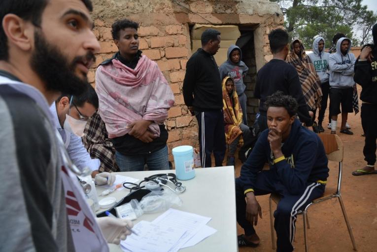 Consultations médicales, centre de détention de Zintan, Libye, juin 2019.  © Jérôme Tubiana/MSF