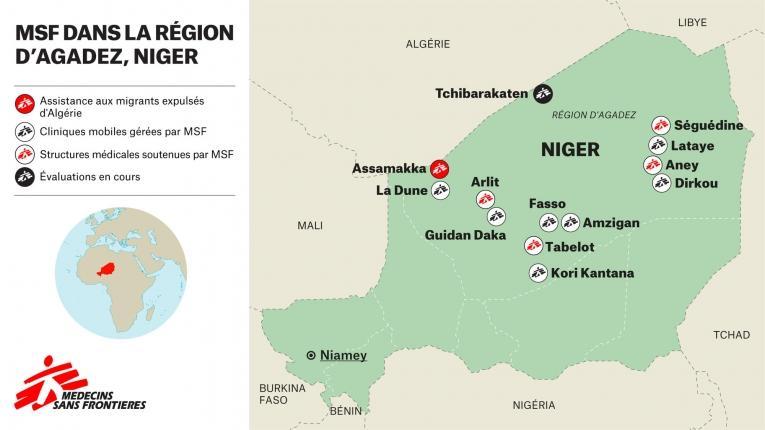 Zones d'intervention de MSF dans la région d'Agadez, au Niger.