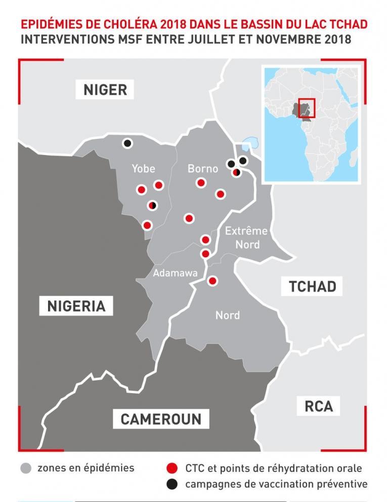 Interventions de MSF en réponse aux épidémies de choléra dans le bassin du lac Tchad en 2018.